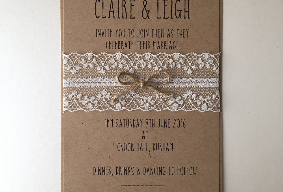 Lace & Twine Rustic Wedding Invitation