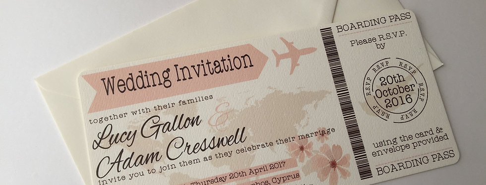 SOPHIE Travel Boarding Card Wedding Invitation