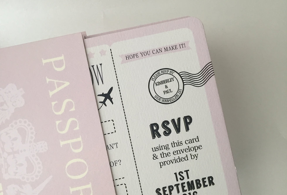 Leona Passport Invitation & Boarding Cards RSVP