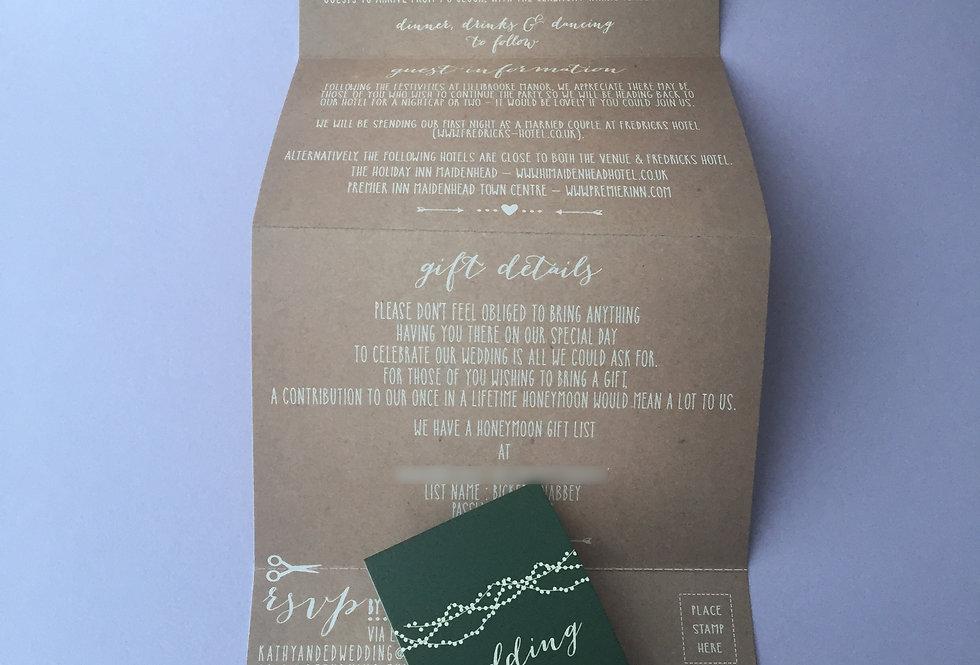 QUADFOLD Kraft Invitation with String Lights