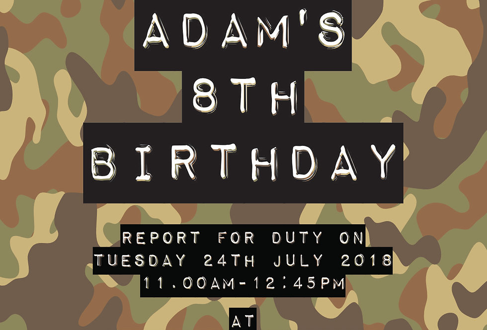 Camo Invitations for laser tag or Paintball Party