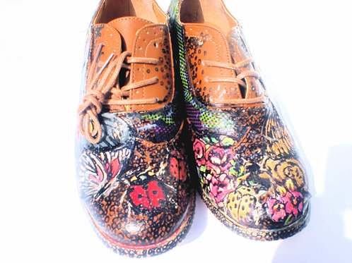 Butterflies and Roses/ P.S. Brogues/ Brown Leather