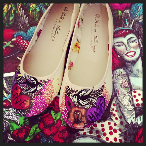 Love and Hate Tattoo Shoes