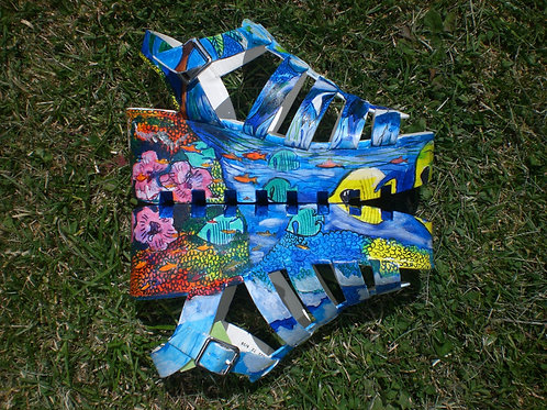 SummerPrints/Platform Heel Sandals/ Carib Sea