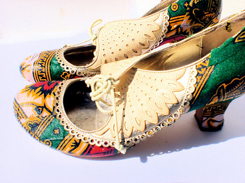 Summer Prints/ Lace Up Mid Heel/ African Print