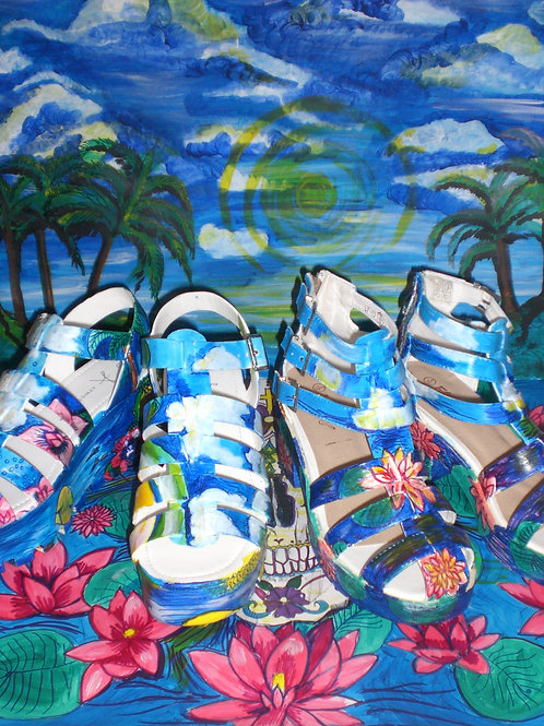Summer Prints/ Platform Heel Sandals/ Carib Sea