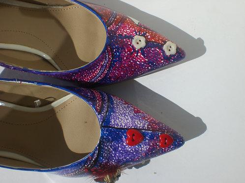 Summer Prints/ Purple Kitten Heels/ Buttons