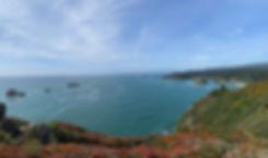View of ocean from Trinidad Head trail, in Trinidad, CA.