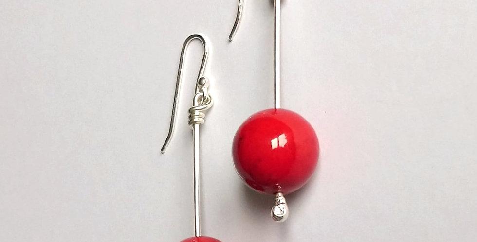 Sterling Silver Dangle Earrings: Red