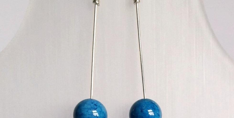 Sterling Silver Dangle Earrings: Blue