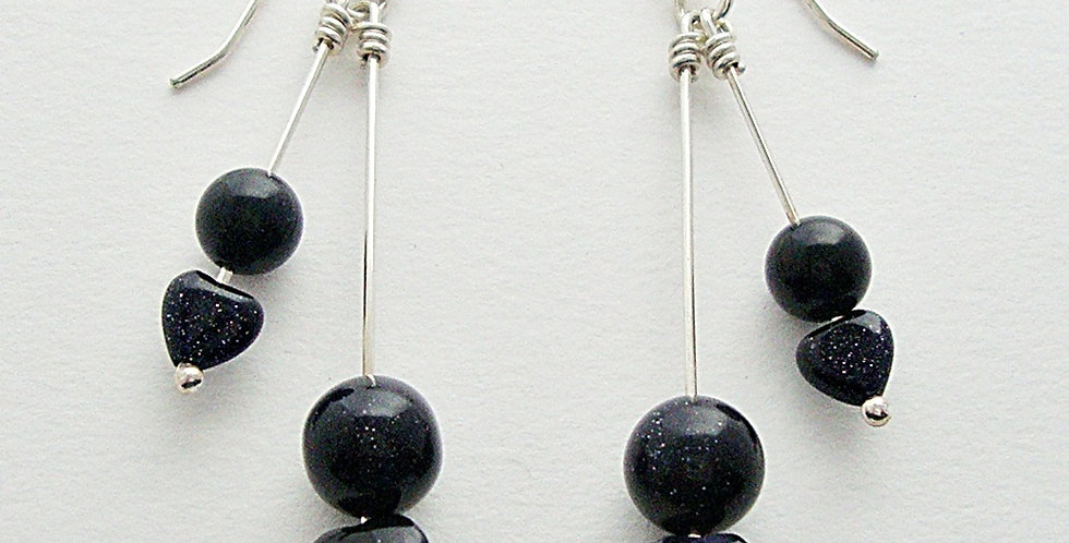 Sterling Silver Dangle Earrings with Blue Goldstone