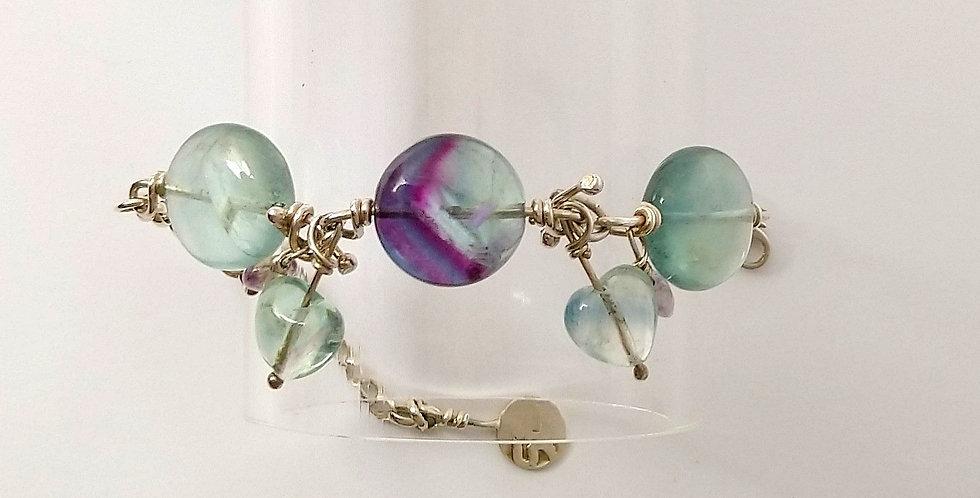 Sterling Silver and Fluorite Bracelet