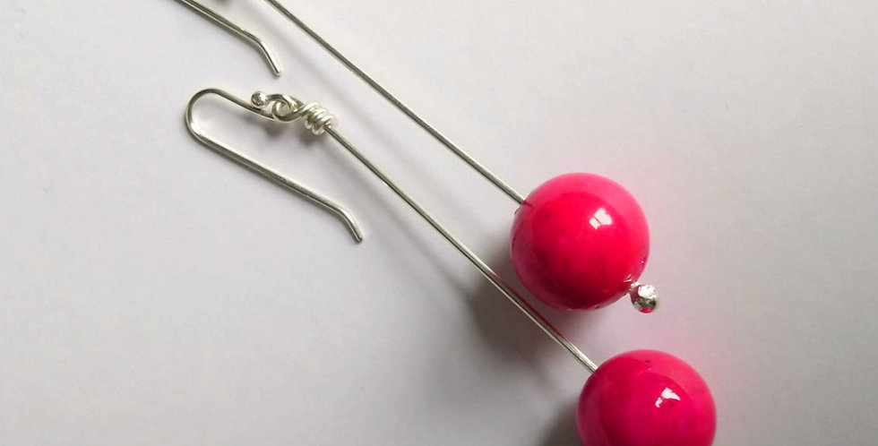 Sterling Silver Dangle Earrings: Bright Pink