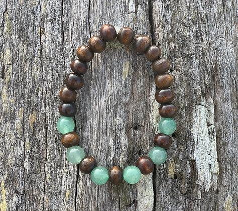 Adventurine & Wooden Bead Bracelet