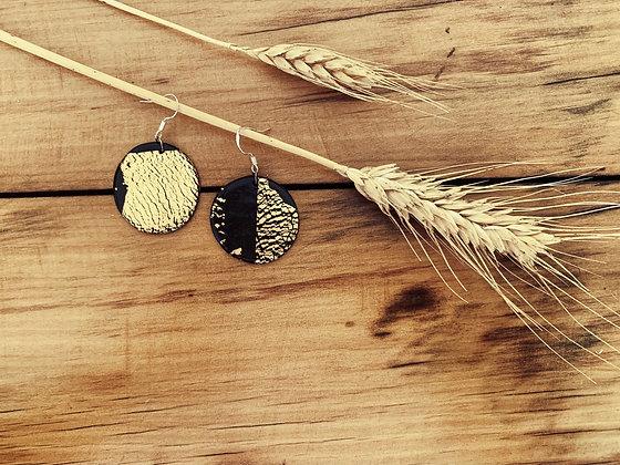 Black Golden Flake Circles Small