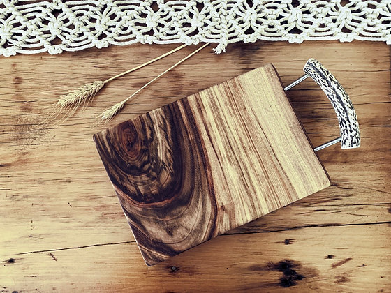 Small Cheese Board With Deer Antler Handle