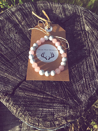 White Howlite & Rose Quartz Bracelet