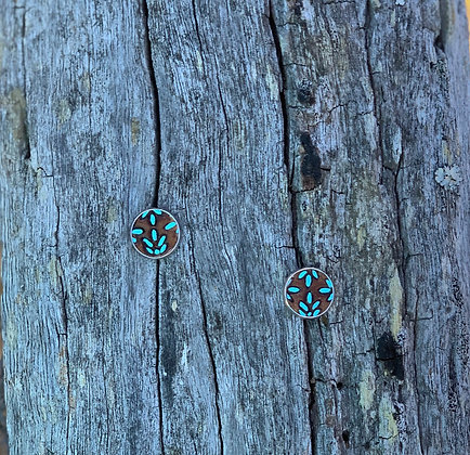 Small Studs Leaves Turquoise