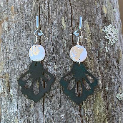 Gold Leaf Emerald Petal Drops