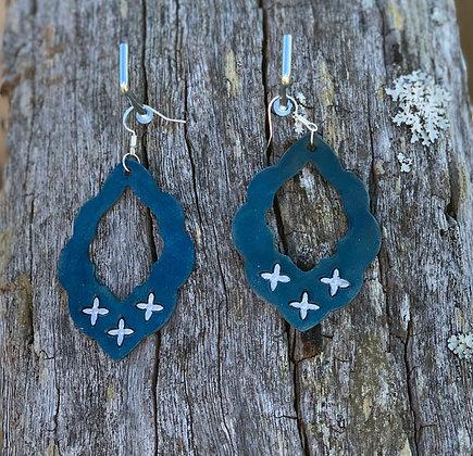 Turquoise Blue Boho Hoops