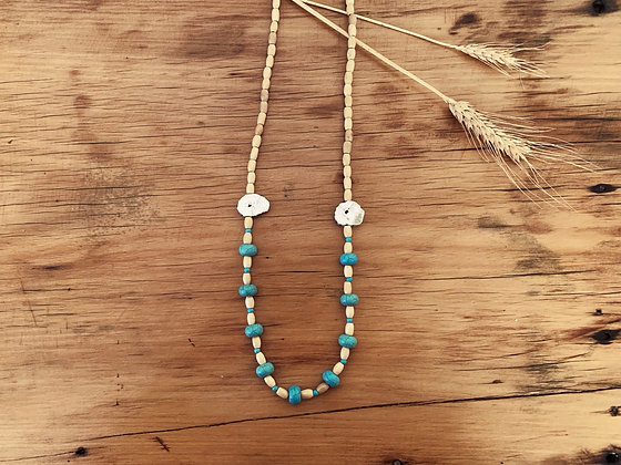Turquoise Antler Slice Necklace