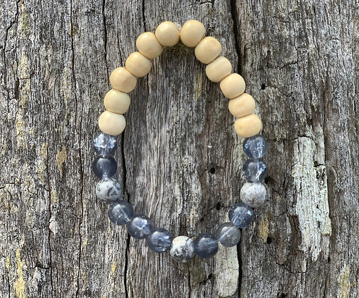 Larvikite & Wooden Bead Bracelet