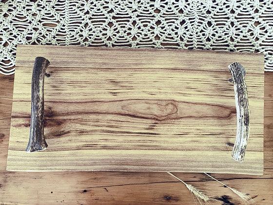 Extra Large Camphor Laurel Platter Board With Deer Antler Handles