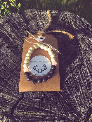 Rose Quartz & Black Lava Stone Diffuser Bracelet