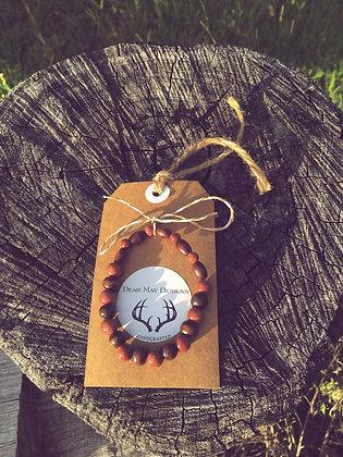 Gold Stone & Wooden Bead Bracelet