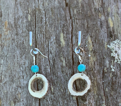 Antler Hollow Slice Earrings Small Turquoise Magnesite
