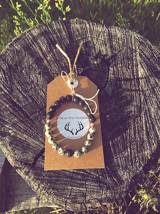 Dalmatian Stone & Black Lava Stone Diffuser Bracelet