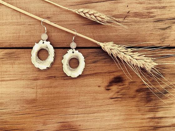 Antler Hollow Slice Earrings Large Rose Quartz