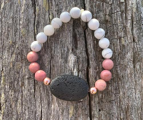 Rhodonite & Black Lava Stone Diffuser Bracelet