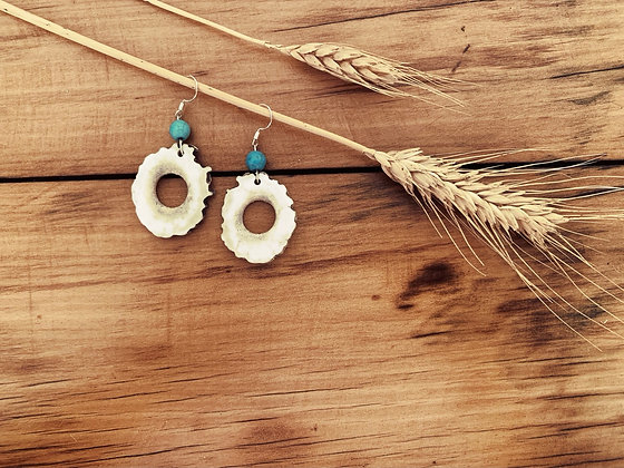 Antler Hollow Slice Earrings Large Turquoise Magnesite