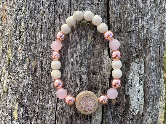 Pink Calcite Inlay Bracelet