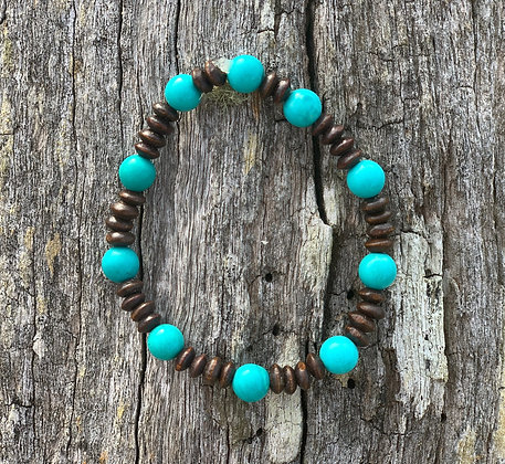 Turquoise Howlite & Wooden Bead Bracelet