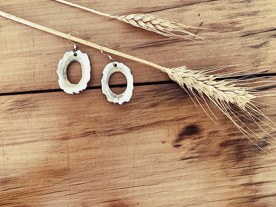 Antler Hollow Slice Earrings Large