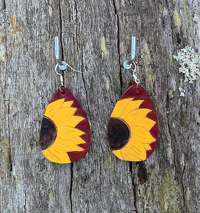 Sunflower Tear Drops Ox Blood Coloured