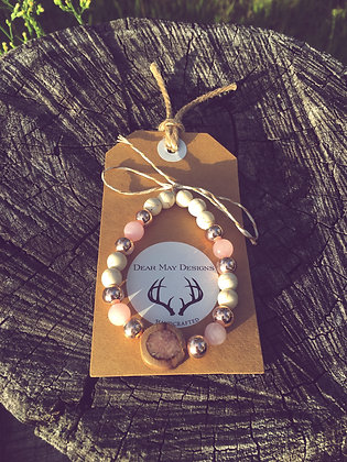 Pink Calcite Inlay Bracelet