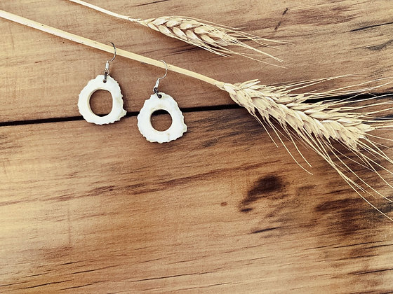 Antler Hollow Slice Earrings Medium