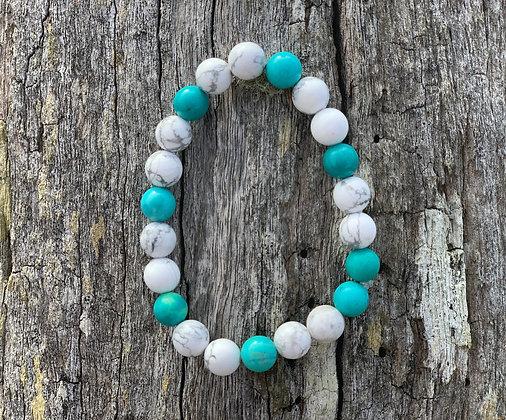 White & Turquoise Howlite Bracelet