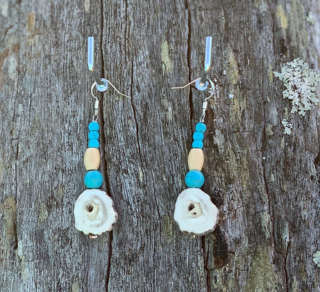 Antler Slice Drops With Turquoise Magnesite