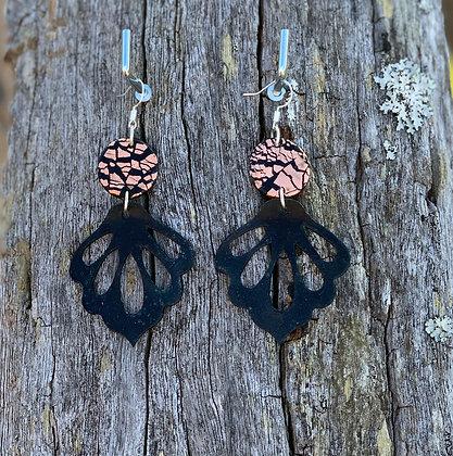 Copper Flake Black Petal Drops