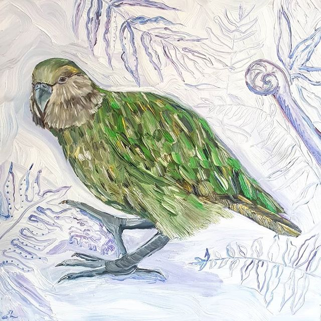 _Kakapo browse___Oil painting on 50