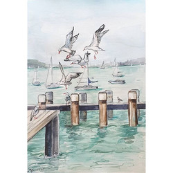 Seagulls by the wharf__Watercolour on A3