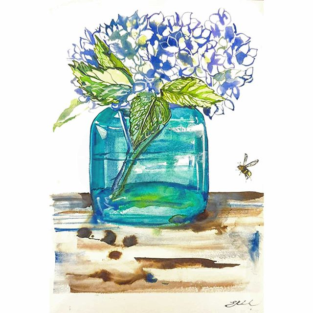 Vase of hydrangeas  Watercolour on 300gs