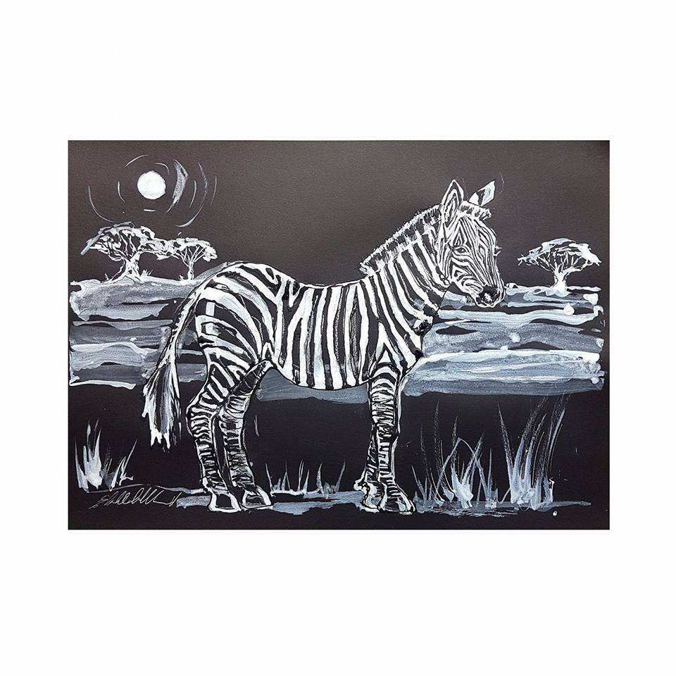 Zebra with Acacia trees