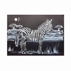 Zebra with Acacia trees