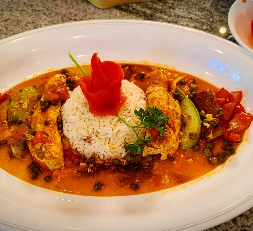 Chicken Strips in Curry-Capers_Tomato Sauce, Savory Chayote and Bell Peppers, and Platanos en Tentacion