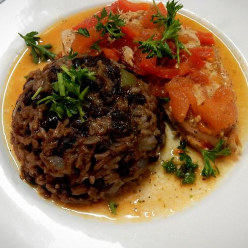 Congrí (Black Beans and Rice), Cilantro-tomato Breast of Chicken